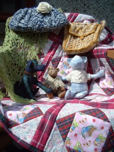 Mohair bear and friends